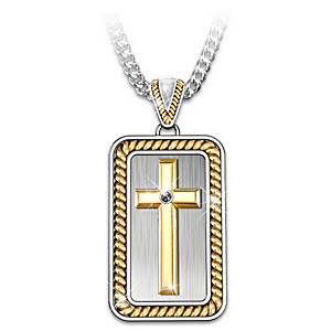 """Strength In God"" Men's Cross Pendant Necklace"