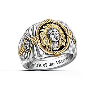 """""""Spirit Of The Warrior"""" Stainless Steel And Onyx Men's Ring"""
