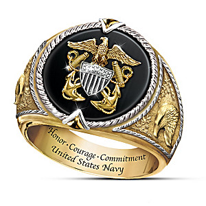 """Honor, Courage And Commitment"" U.S. Navy Tribute Ring"