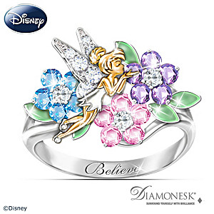 "Disney Tinker Bell ""Garden Of Magic"" Diamonesk Ring"