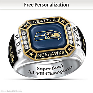 Super Bowl XLVIII Champions Seahawks Personalized Men's Ring