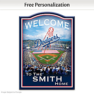 LA Dodgers Wooden Welcome Sign Personalized With Name