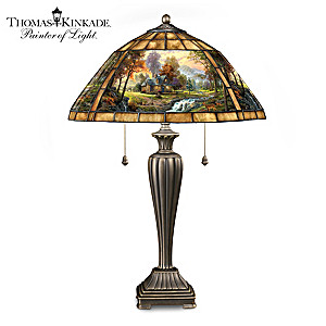 """Thomas Kinkade Mountain Retreat"" Stained Glass Table Lamp"