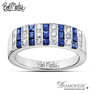 "Bob Mackie ""Blue And Bold"" Diamonesk Ring"