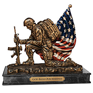 """God Bless Our Marines"" Cold-Cast Bronze Tribute Sculpture"