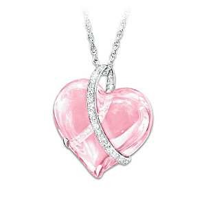 Light Of Hope Breast Cancer Support Crystal Pendant Necklace
