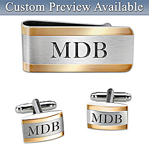 Name & Monogram Engraved Cuff Links And Money Clip Set