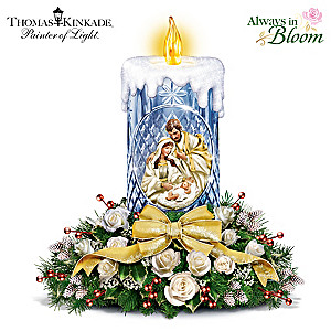 Thomas Kinkade True Meaning Of Christmas Crystal Centerpiece