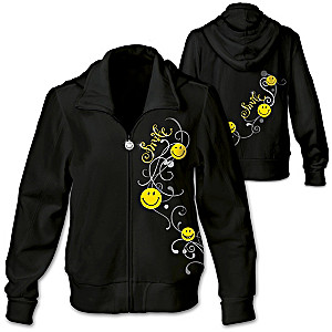 """""""Smile"""" Women's Designer Hoodie With Glittered Accents"""