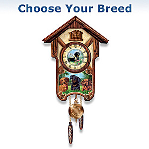Linda Picken Playful Pups Wall Clock: Choose Your Breed