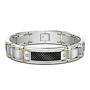 """Dressed To Thrill"" Stainless Steel Diamond Men's Bracelet"