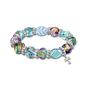 """Wonders Of Faith"" Art-Glass Bracelet With Cross Charm"