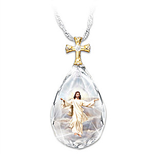 """""""Divine Inspiration"""" Crystal Pendant With Image of Jesus"""