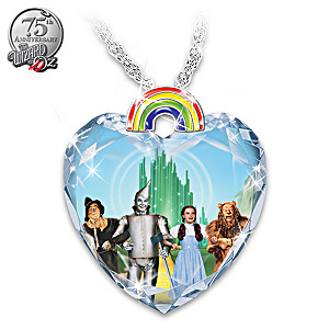 "The Wizard Of Oz ""Over The Rainbow"" Crystal Heart Necklace"