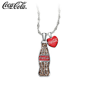 """""""COCA-COLA Crystal Bottle Pendant"""" With Enameled Heart Charm"""