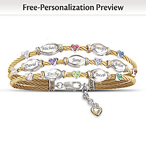 Strength Of Family Name-Engraved Crystal Birthstone Bracelet