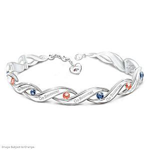 Denver Broncos Bracelet With Team-Color Crystals