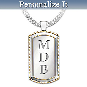 "Monogrammed ""Graduation"" Dog Tag Pendant Necklace"