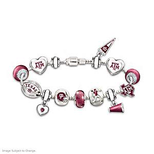 Texas A&M Aggies Charm Bracelet With Swarovski Crystals