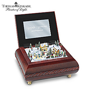 "Thomas Kinkade ""Holiday Memories"" Lighted Animated Music Box"