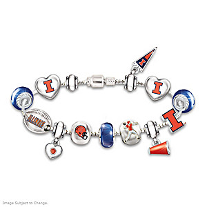 Fighting Illini Charm Bracelet With Swarovski Crystals