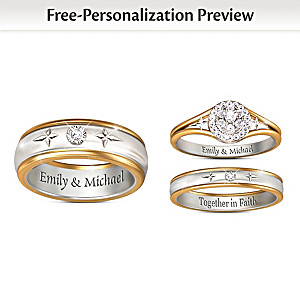 forever in faith customized his hers diamond wedding rings - Customized Wedding Rings