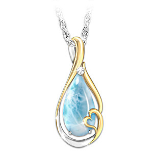 """Heaven In My Heart"" Larimar And Diamond Remembrance Pendant"