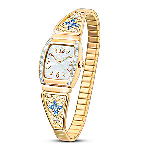 """""""Moments Of Faith"""" Women's Stretch Watch With Crystals"""