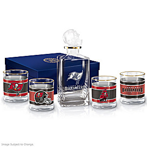 Tampa Bay Buccaneers Five-Piece Decanter And Glasses Set