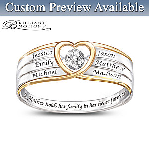 """In A Mother's Heart"" Personalized Brilliant Motions Diamond Ring"