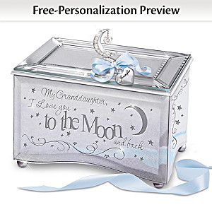 """""""Granddaughter, I Love You To The Moon"""" Music Box With Name"""