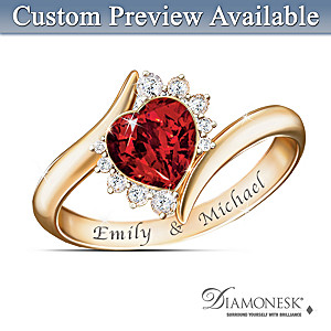 """Sweetheart"" Couples Name-Engraved Diamonesk Ring"