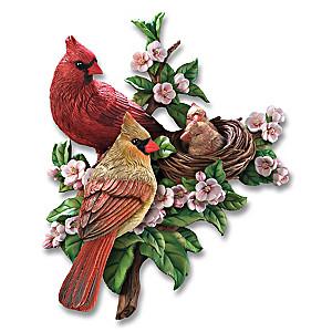 """""""Cozy Cardinals Springtime"""" Wall Sculpture"""