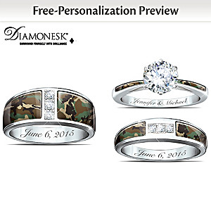 camo his and hers personalized diamonesk wedding ring set - Camouflage Wedding Ring Sets