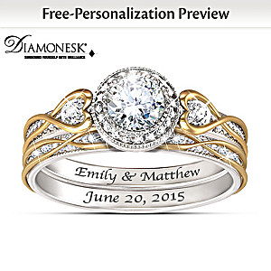 """Endless Love"" Diamonesk Bridal Rings With Custom Engraving"