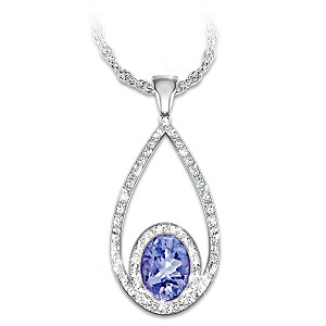 """Tanzanite Opulence"" Tanzanite And Diamond Pendant Necklace"