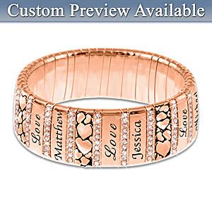"""Mom's Family Of Love"" Personalized Copper Bracelet"