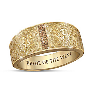 """Pride Of The West"" Whiskey-Colored Diamond Engraved Ring"