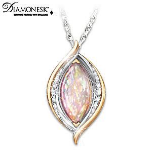 """World On Fire"" Created Opal Pendant Necklace"