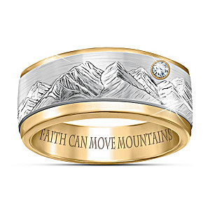 """Faith Can Move Mountains"" Men's Diamond Spinning Ring"