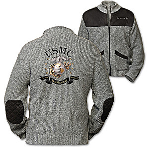 """""""The Few, The Proud, The Marines"""" Men's Knit Sweater Jacket"""