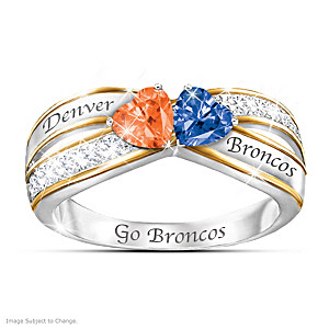 """""""Heart Of Denver"""" Ring With Broncos Colored Crystals"""