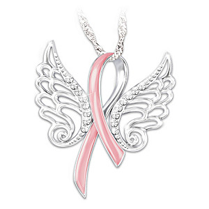 """Hope Soars"" Breast Cancer Pink Ribbon Pendant Necklace"