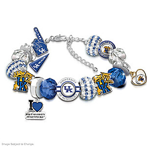 """Fashionable Fan"" Wildcats Charm Bracelet With 16 Charms"