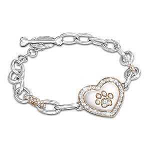 Pet Lover's Crystal Paw Print Bracelet