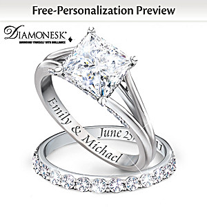 """Princess"" Bridal Ring Set With Personalized Engraving"