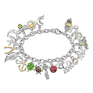"""Endless Luck"" Charm Bracelet With 20 Symbolic Charms"