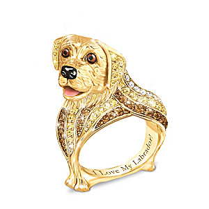 Best In Show Engraved 18K Gold-Plated Yellow Lab Ring