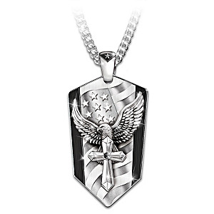 """God Bless America"" Pendant Necklace With Black Sapphire"