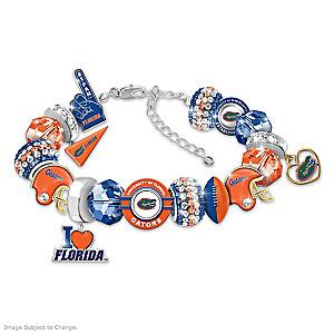 """Fashionable Fan"" Gators Charm Bracelet With 16 Charms"